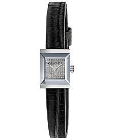 Gucci Women's Swiss G-Frame Black Lizard Leather Strap Watch 14x18mm
