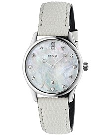 Women's Swiss G-Timeless Diamond-Accent White Lizard Leather Strap Watch 29mm