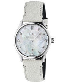 Gucci Women's Swiss G-Timeless Diamond-Accent White Lizard Leather Strap Watch 29mm
