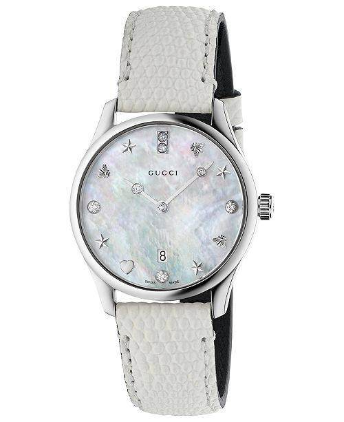 1c6b813dc02 ... Gucci Women s Swiss G-Timeless Diamond-Accent White Lizard Leather  Strap Watch ...