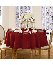 "Elrene Elegance Plaid Poinsettia Red 90"" Round Tablecloth"