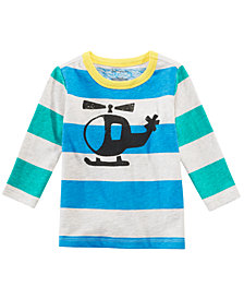 First Impressions Baby Boys Helicopter Graphic Striped Cotton T-Shirt, Created for Macy's