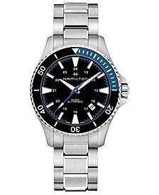 Men's Swiss Automatic Khaki Navy Scuba Stainless Steel Bracelet Watch 40mm