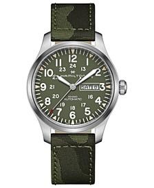 Men's Swiss Automatic Khaki Field Green Camouflage Fabric Strap Watch 42mm