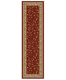 "CLOSEOUT!! KM Home Pesaro Floral Red 2'2"" x 7'7"" Runner Area Rug"