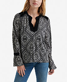 Lucky Brand Printed Detailed Peasant Top