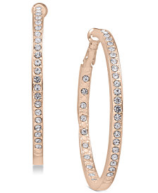 Essentials Silver Plated Crystal Inside Out Hoop Earrings in Rose Gold-Plate