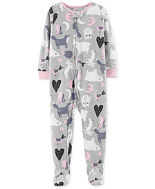 Carter's Toddler Girls Animal-Print Footed Fleece Pajamas
