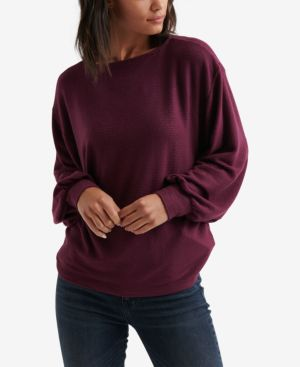 LUCKY BRAND Ribbed Dolman Sweater in Wine Tasting