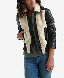 Lucky Brand Sherpa Leather Moto Jacket