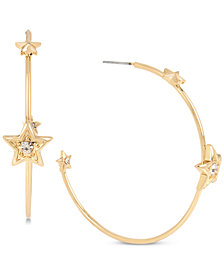 BCBG Gold-Tone Crystal Star Hoop Earrings