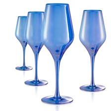 Set of 4 16 oz. Luster Blue Goblets