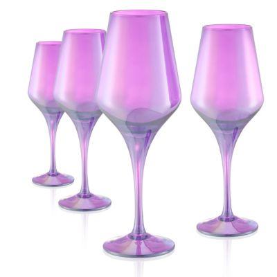 Set of 4 16oz Luster Purple Goblets