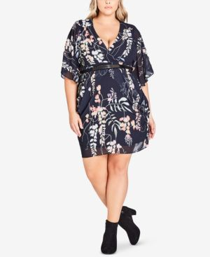 CITY CHIC Hothouse Flower Faux Wrap Chiffon Dress in Hothouse Vine
