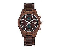 Earth Wood Castillo Wood Bracelet Watch W/Date Brown 45Mm