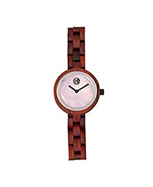 Wisteria Mother-Of-Pearl Wood Bracelet Watch Red 32Mm
