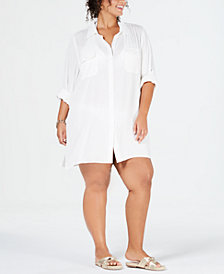 Lauren Ralph Lauren Plus Size Camp-Shirt Cover-Up