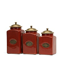 Red Ceramic Canisters - Set of 3