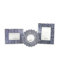 Imax Lucenda Blue and White Ceramic Frames - Set of 3