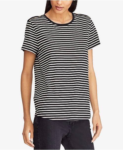 d11ec97c Lauren Ralph Lauren Velvet Striped T-Shirt - Tops - Women - Macy's