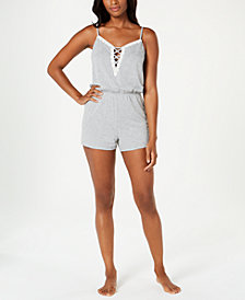 Alfani Lace-Up Knit Pajama Romper, Created for Macy's