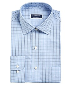 Men's Big & Tall Classic/Regular-Fit Stretch Windowpane Dress Shirt, Created for Macy's