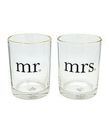 Mr. and Mrs. Hearts Gold Rim 2-Pc. Rock Glasses