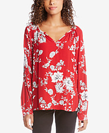 Karen Kane Printed Split-Neck Blouse