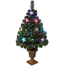 """National Tree 36"""" Fiber Optic Evergreen Tree with Star Decorations"""