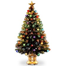 "National Tree 48"" Fiber Optic Fireworks Tree with Ball Ornaments"
