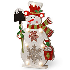 "National Tree PreLit 17"" Wooden Snowman"