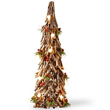 "National Tree PreLit 23"" Wood Look Holiday Tree"
