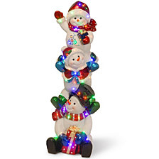 "National Tree Company 61"" Pre-Lit Stacked Snowmen Decoration"
