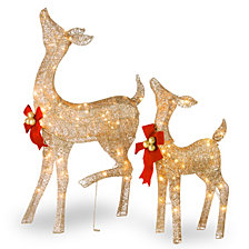 National Tree Company Crystal Splendor Champagne Doe and Fawn
