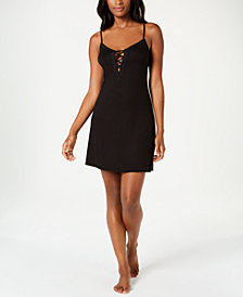 Alfani Lace-Up Print Knit Chemise, Created for Macy's
