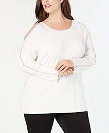 I.N.C. Plus Size Rhinestone-Trim Cold-Shoulder Sweater, Created for Macy's