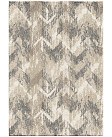"Orian Carolina Wild Distressed Chevron Natural 6'7"" x 9'8"" Area Rug"