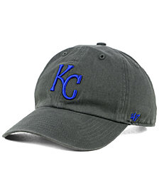 '47 Brand Boys' Kansas City Royals Charcoal CLEAN UP Strapback Cap