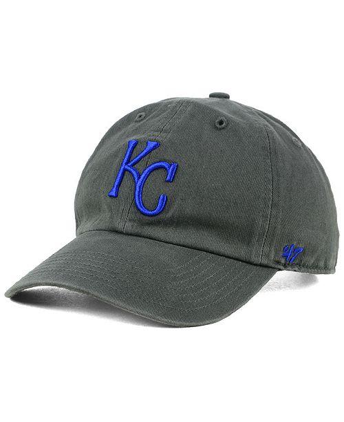 9552027de7730 47 Brand Boys  Kansas City Royals Charcoal CLEAN UP Strapback Cap ...