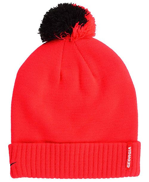 Nike Georgia Bulldogs Beanie Sideline Pom Hat - Sports Fan Shop By ... 151fcc95b2b