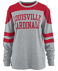 Pressbox Women's Louisville Cardinals Appliqué Boyfriend Long Sleeve T-Shirt