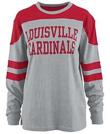 Pressbox Women's Louisville Cardinals Appliqué Boyfriend Long Sleeve T-Shirt