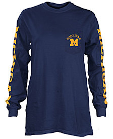 Pressbox Women's Michigan Wolverines Long Sleeve Pocket T-Shirt