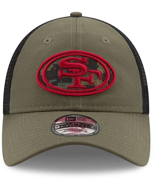 f1374aa9b0c ... hat mesh trucker snapback nfl ff351 18b71 purchase new era san  francisco 49ers camo service patch 9twenty trucker cap sports fan shop by  ...