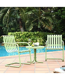 Gracie 3 Piece Metal Outdoor Conversation Seating Set - 2 Chairs And Side Table