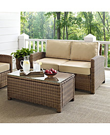 Bradenton 2 Piece Outdoor Wicker Seating Set With Cushions - Loveseat And Glass Top Table