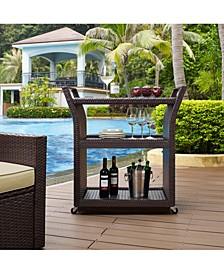 Palm Harbor Outdoor Wicker Bar Cart