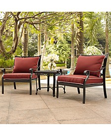 Cast Aluminum 3 Piece Conversation Set With Sangria Cushions - 2 Arm Chairs And End Table