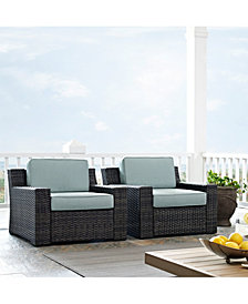 Beaufort 2 Piece Outdoor Wicker Seating Set With Mist Cushion - 2 Outdoor Wicker Chairs