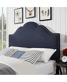 Preston Camelback Upholstered Full And Queen Headboard In Linen